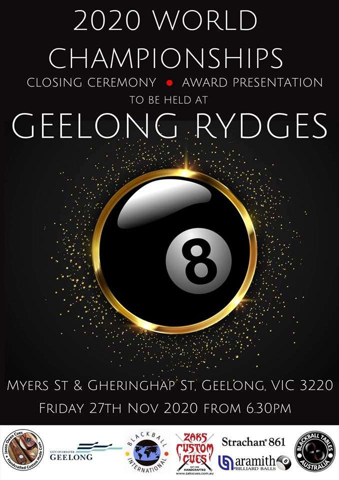 Geelong Rydges Hotel World Blackball Championships Closing Ceremony